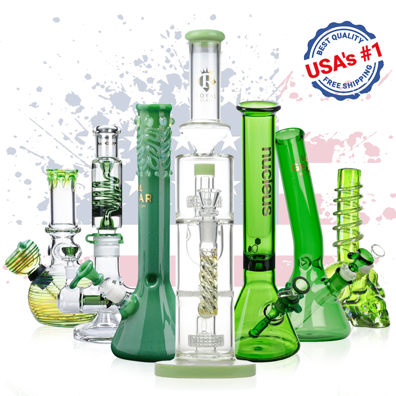 buy usa's nr. 1 green glass bongs for sale online